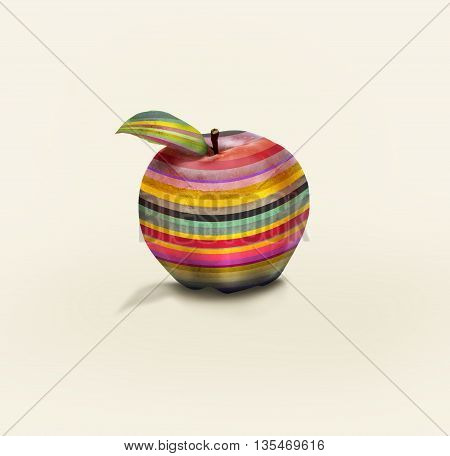 An apple colored in horizontal stripes isolated