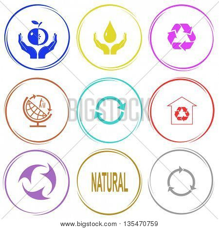 apple in hands, protection blood, recycle symbol, globe and recycling symbol, protection of nature, natural. Ecology set. Internet button. Vector icons.