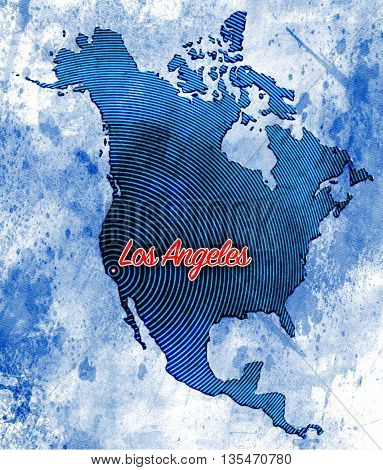Artistic North American Map featuring Los Angeles, California with a combination of styles