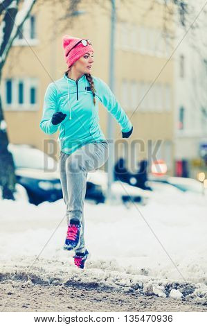 Woman Maintaining Fitness In Winter