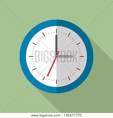 Circle office analog wall clock. Wall clock icon. Flat style vector illustration