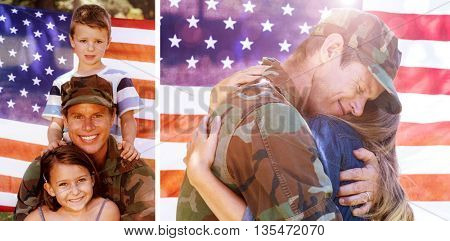 American soldier reunited with his partner against american soldier reunited with his son and daughter