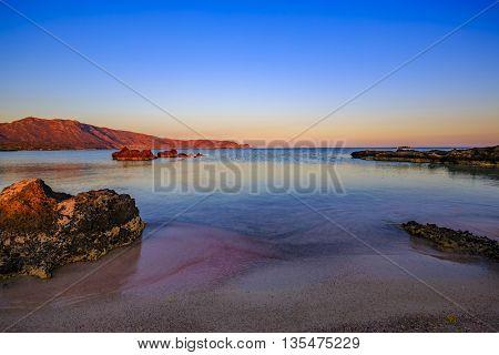 Sunset at Elafonisi beach,  Crete, Greece
