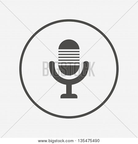 Microphone icon. Speaker symbol. Live music sign Flat microphone icon. Simple design microphone symbol. Microphone graphic element. Round button with flat microphone icon. Vector