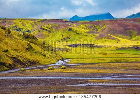 Picturesque basalt hills covered with grass and moss-polar. At the bottom of the canyon flowing streams lot. Canyon Pakgil in Iceland