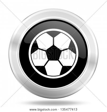 soccer black icon, metallic design internet button, web and mobile app illustration