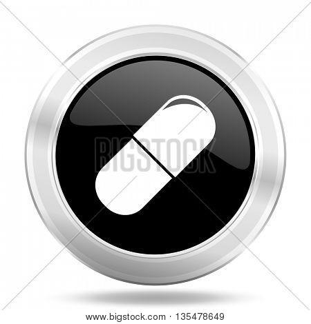 drugs black icon, metallic design internet button, web and mobile app illustration