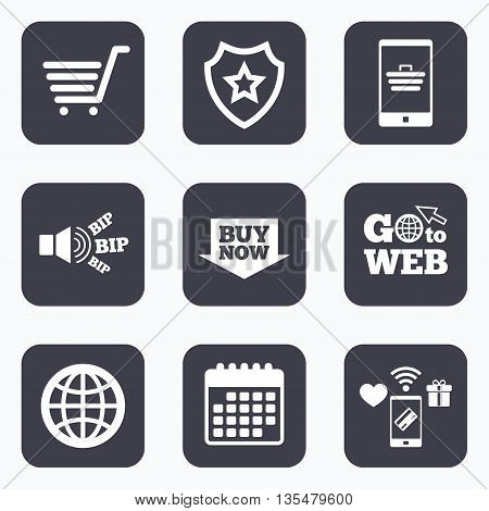Mobile payments, wifi and calendar icons. Online shopping icons. Smartphone, shopping cart, buy now arrow and internet signs. WWW globe symbol. Go to web symbol.