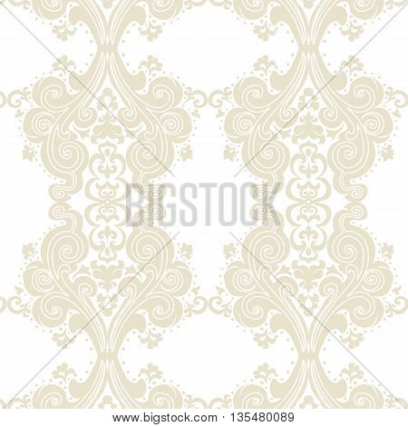 Vector Vintage Damask swirl flower ornament pattern. Texture for backgrounds and invitation cards. Lint color