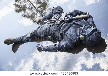 Simulated dead body of special forces operator killed during a special operation