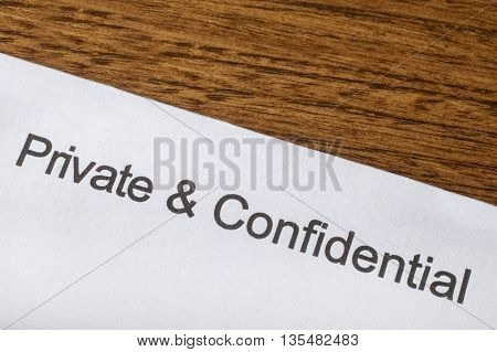 Private and Confidential printed on a piece of paper.