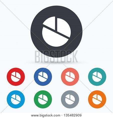 Pie chart graph sign icon. Diagram button. Flat pie chart icon. Simple design pie chart symbol. Pie chart graphic element. Circle buttons with pie chart icon. Vector