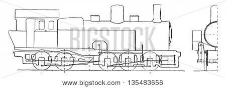 Articulated locomotive, Hagans system, vintage engraved illustration. Industrial encyclopedia E.-O. Lami - 1875.