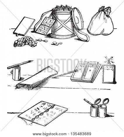 Manuscripts, tablets, Writing cases, pens, styluses discovered at Pompeii, vintage engraved illustration. Magasin Pittoresque 1836.