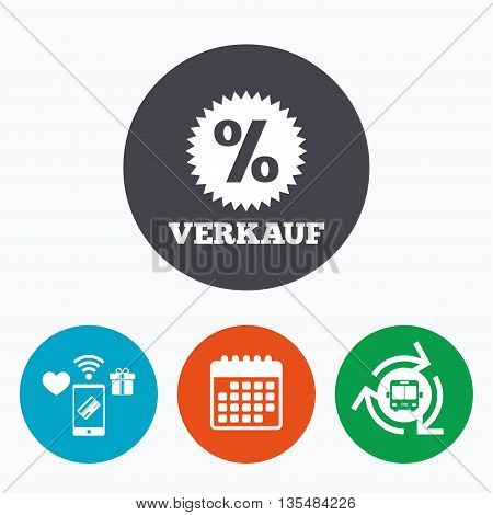 Verkauf - Sale in German sign icon. Star with percentage symbol. Mobile payments, calendar and wifi icons. Bus shuttle.