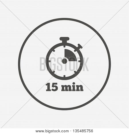 Timer sign icon. 15 minutes stopwatch symbol. Flat timer icon. Simple design timer symbol. Timer graphic element. Round button with flat timer icon. Vector