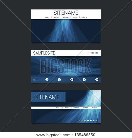 Web Design Elements - Header Design Set with Dark Blue Abstract Transparent Shapes Background
