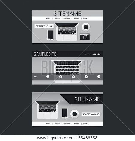 Web Design Elements - Header Design Set with Abstract SIlver Grey Modern Flat Style Technology, Freelance Work Theme, Mobile Office, Notebook PC and Devices