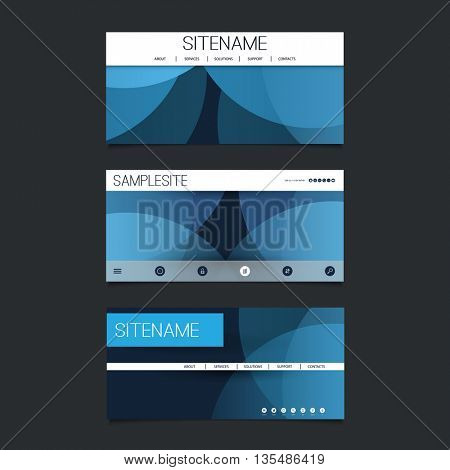 Web Design Elements - Header Design Set with Dark Blue Abstract Transparent Rings Background Pattern