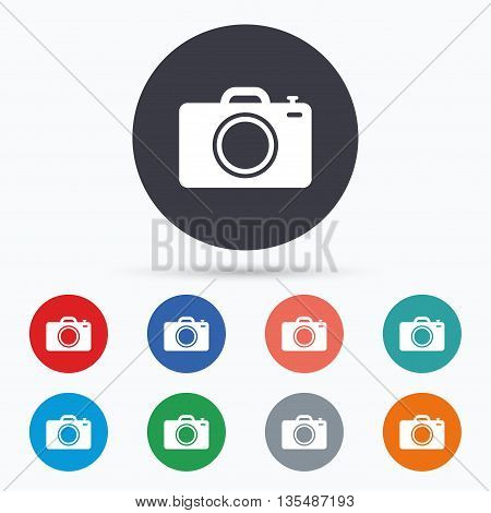 Photo camera sign icon. Photo symbol. Flat photo camera icon. Simple design photo camera symbol. Photo camera graphic element. Circle buttons with photo camera icon. Vector
