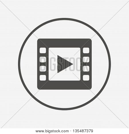 Video sign icon. Video frame symbol. Flat video icon. Simple design video symbol. Video graphic element. Round button with flat video icon. Vector