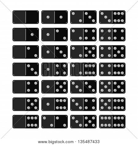 Set of domino, flat icons, objects for games. Vector illustration