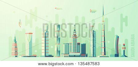 Concept Saudi Arabia skyline with world tallest building vector illustration flat style