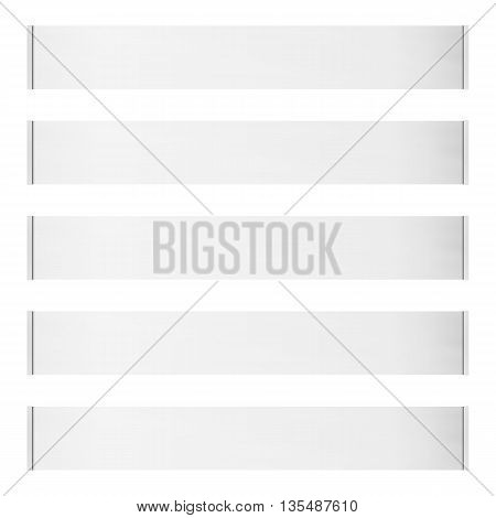 Five horizontal vector roll blank banners isolated on white background. Place for any message.