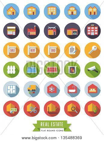 Collection of real estate flat design long shadow icons in colored circles
