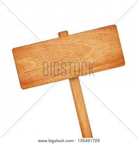 The wooden sign isolated on white background