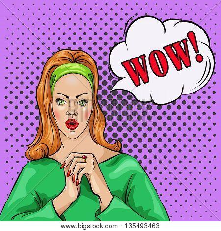 Wow bobble pop art surprised woman face vector illustration