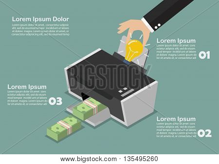 Transform the idea to the money by printer infographic. Business concept