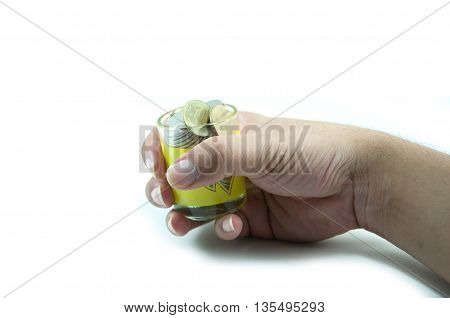 Money in the hand on white background