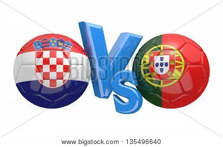 Football competition between national teams Croatia and Portugal, 3D rendering