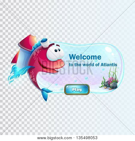Atlantis ruins with fish rocket - vector illustration boot screen to the computer game. Bright background image to create original video or web games graphic design screen savers.