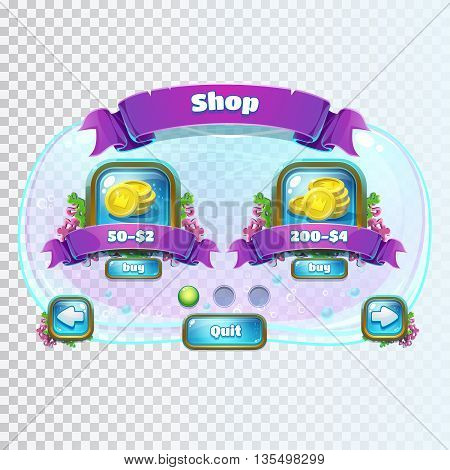 Atlantis ruins playing field - vector illustration shop window screen to the computer game. Bright background image to create original video or web games graphic design screen savers.