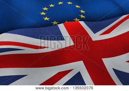 European Union and United Kingdom flags brexit concept background. 3D illustration of UK and EU flags. 3D rendering.