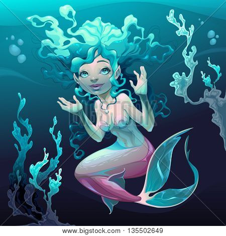 Young mermaid in the sea. Vector cartoon illustration