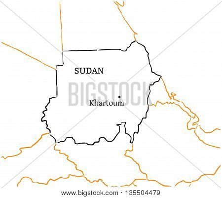 Sudan country with its capital Khartoum in Africa hand-drawn sketch map isolated on white