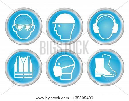 Mandatory construction manufacturing and engineering health and safety cyan shiny icon set to current British Standards isolated on white background