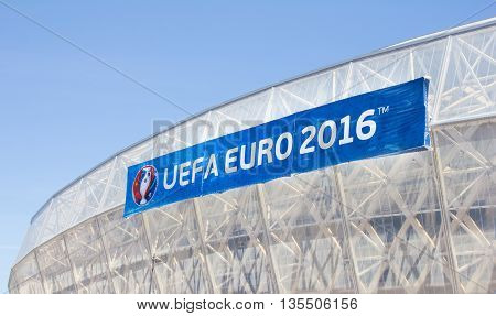 NICE FRANCE - June 20 2016: Nice stadium during the Euro cup 2016. Nice is one of the ten cities where the matches are played during the Euro 2016.
