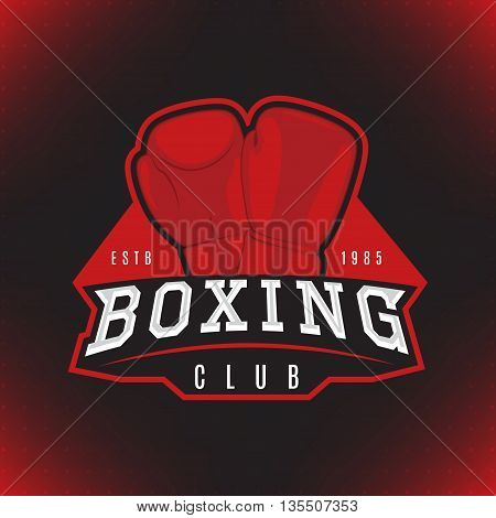 Vector label of boxing. Logo of boxing club isolated on the black background. Vector illustration.