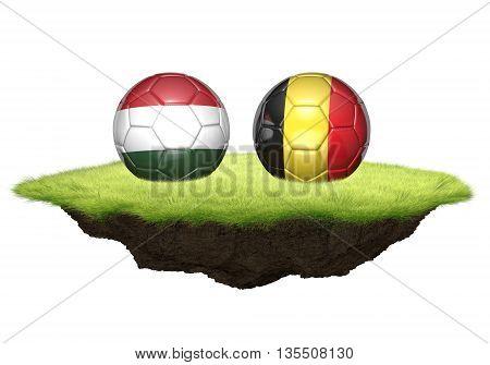 Hungary vs Belgium team balls for football championship tournament, 3D rendering