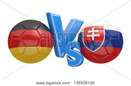Football competition between national teams Germany and Slovakia, 3D rendering