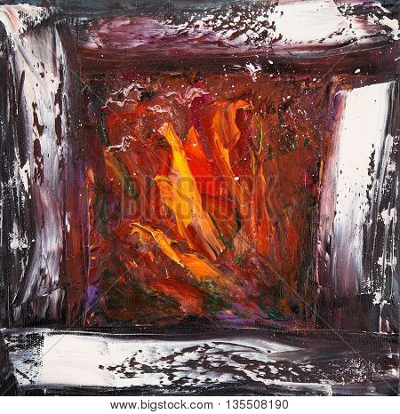Original abstract oil painting showing warm and cosy fireplace with fire in cold winter night on canvas. Modern Impressionism modernismmarinism