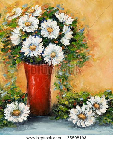 Original oil painting of beautiful vase or bowl of fresh daisy flowers. on canvas.Modern Impressionism modernismmarinism
