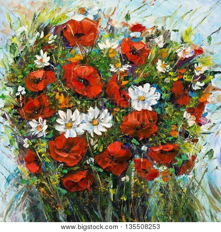 Original oil painting of beautiful vase or bowl of fresh flowers. on canvas.Modern Impressionism modernismmarinism