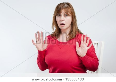 Frightened Middle-aged Woman..