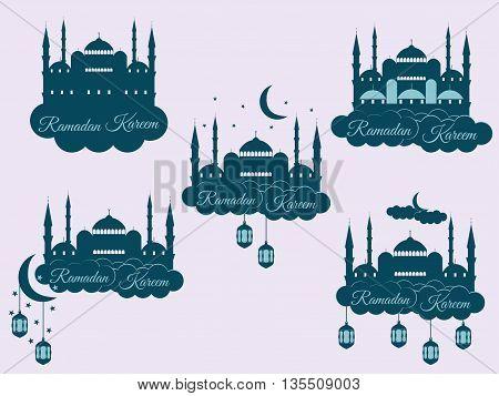 Emblems For Islamic Holiday Ramadan. Ramadan Kareem, Blue Mosque, Minaret, Lantern And Moon, Muslim
