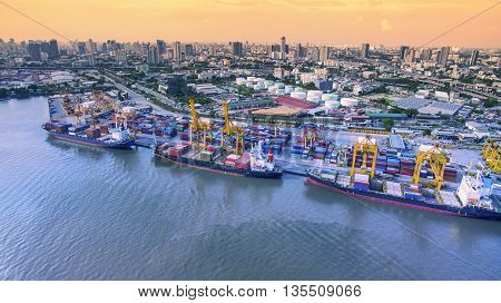 aerial view of commercial shipping port important import export ship dock in bangkok thailand